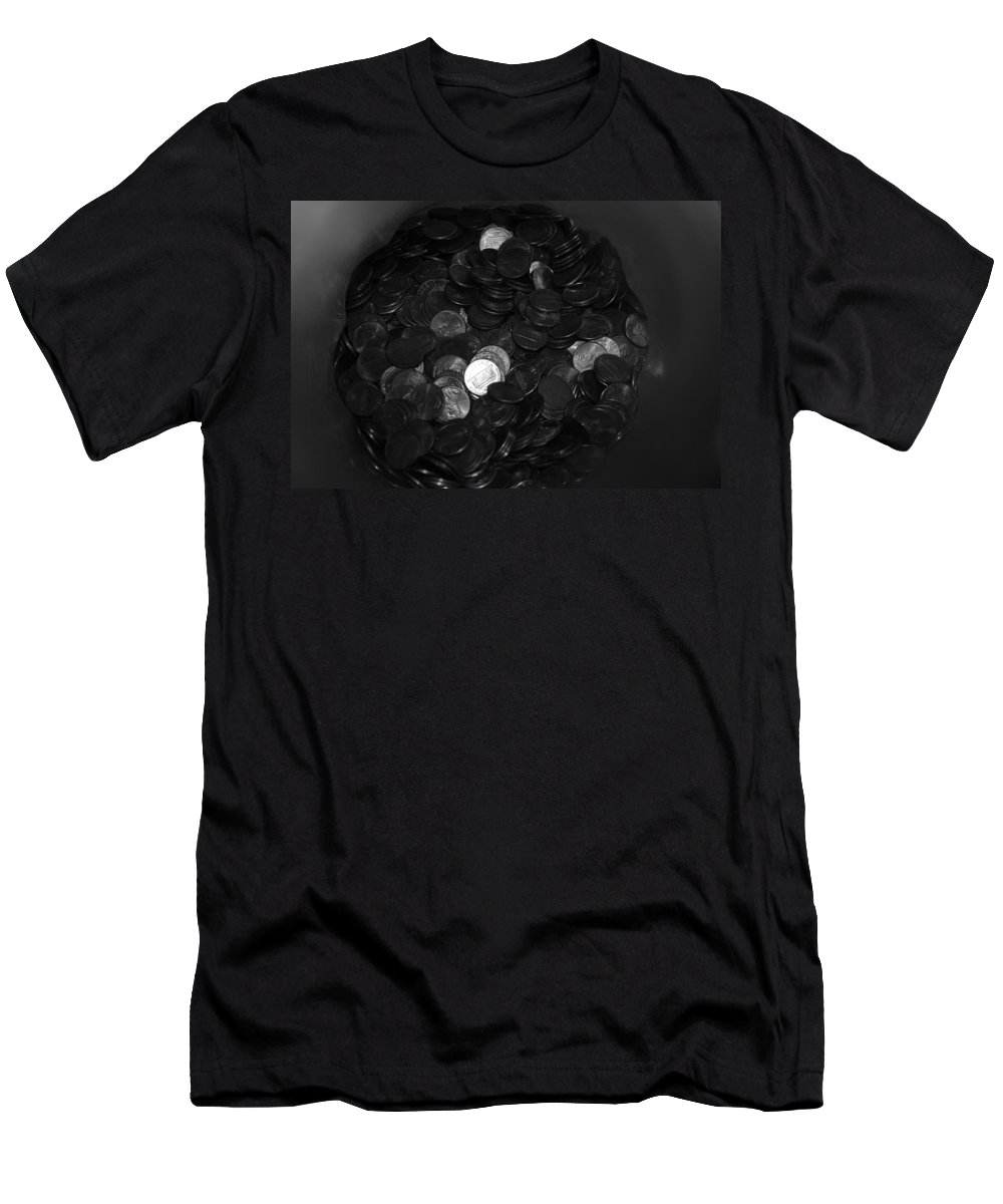 Abstract Men's T-Shirt (Athletic Fit) featuring the photograph Black And White Pennies by Rob Hans