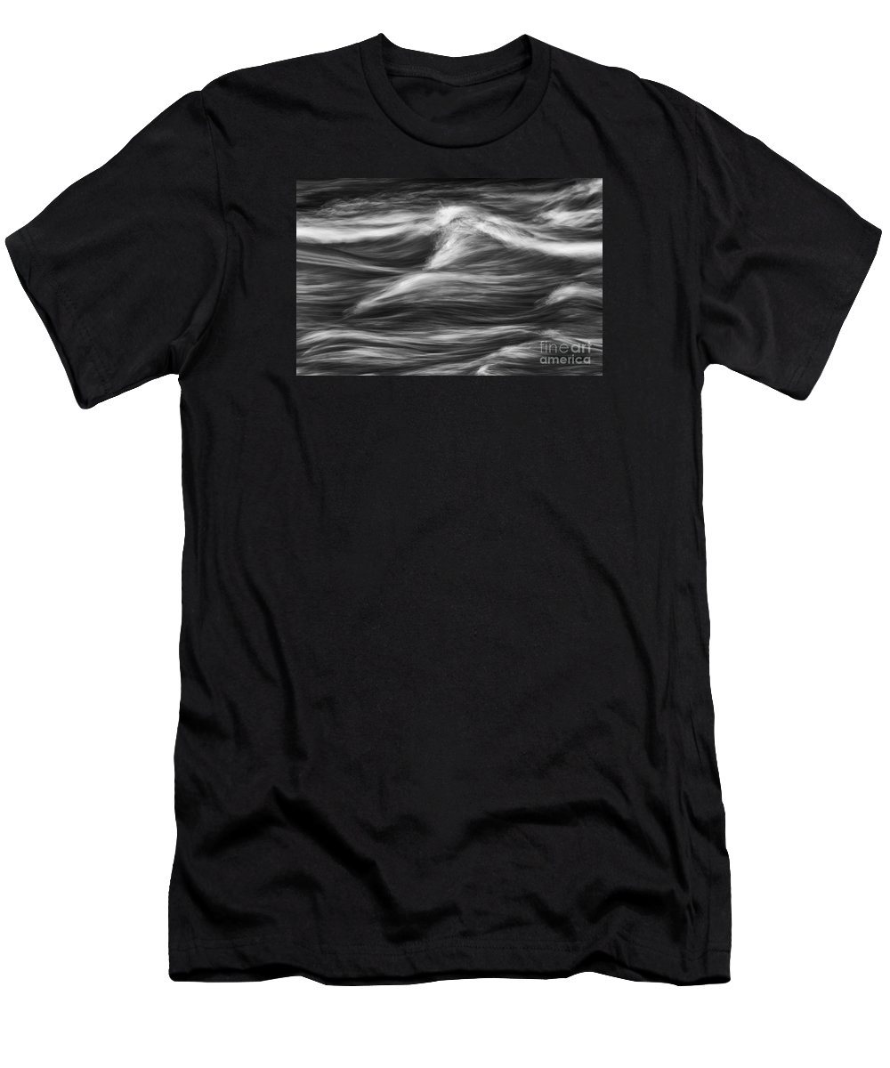 B&w Men's T-Shirt (Athletic Fit) featuring the photograph Black And White River Water Abstract by Jeremy Holmes
