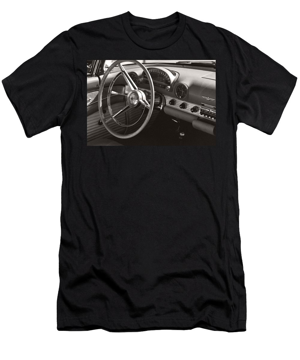 Black Men's T-Shirt (Athletic Fit) featuring the photograph Black And White Thunderbird Steering Wheel And Dash by Heather Kirk