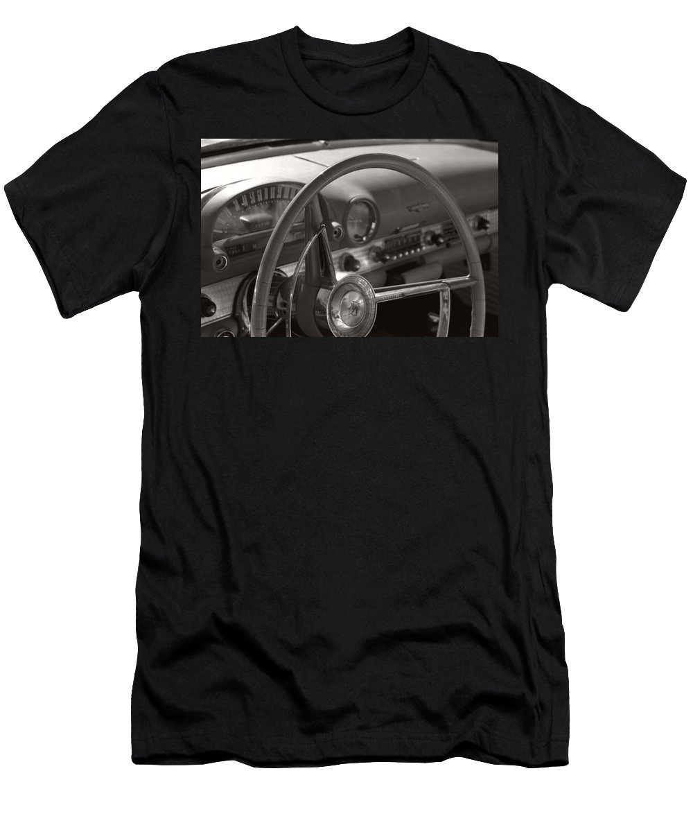 Black And White Photography Men's T-Shirt (Athletic Fit) featuring the photograph Black And White Thunderbird Steering Wheel by Heather Kirk