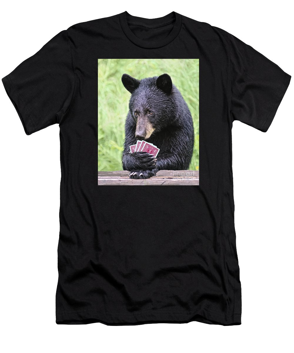 Cards Men's T-Shirt (Athletic Fit) featuring the photograph Black Bear Says I Call by Timothy Flanigan