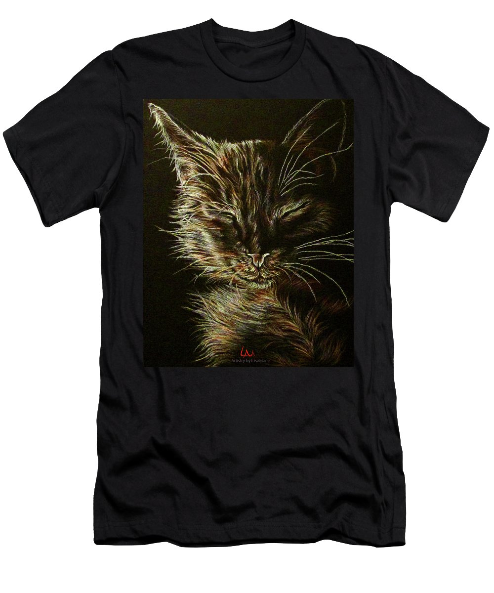 Black Cat Men's T-Shirt (Athletic Fit) featuring the drawing Black Cat Drawing by Lisa Marie Szkolnik