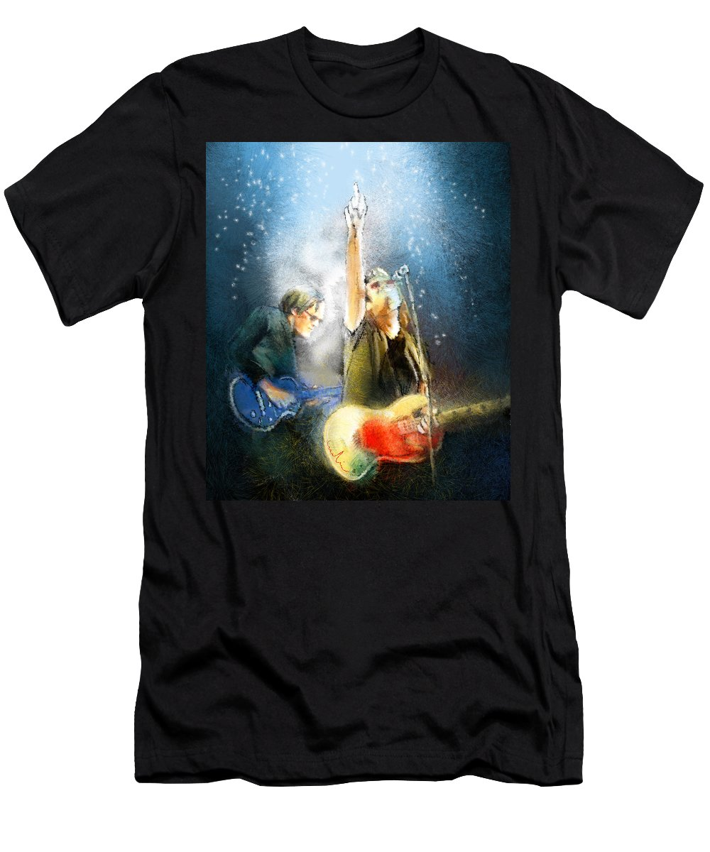 Music Men's T-Shirt (Athletic Fit) featuring the painting Black Country Communion 02 by Miki De Goodaboom