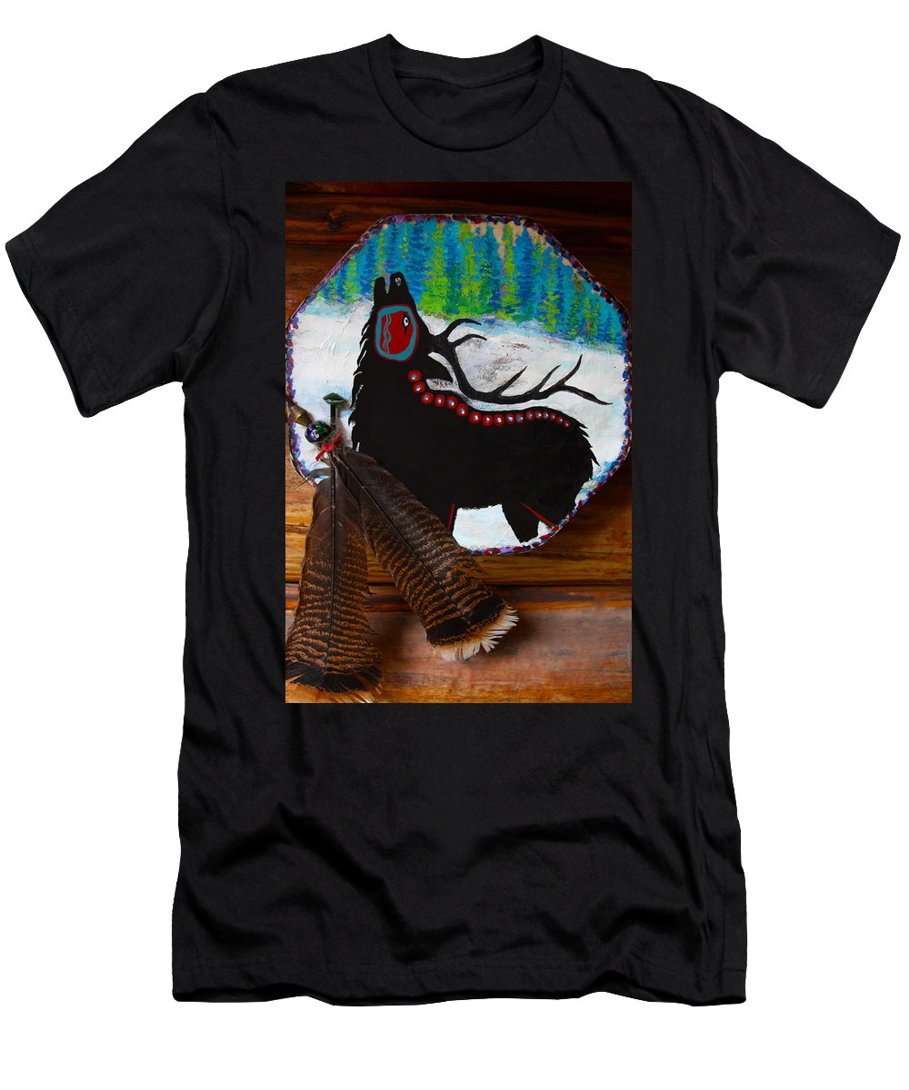 Native Men's T-Shirt (Athletic Fit) featuring the mixed media Black Elk Drum Painting by Karon Melillo DeVega