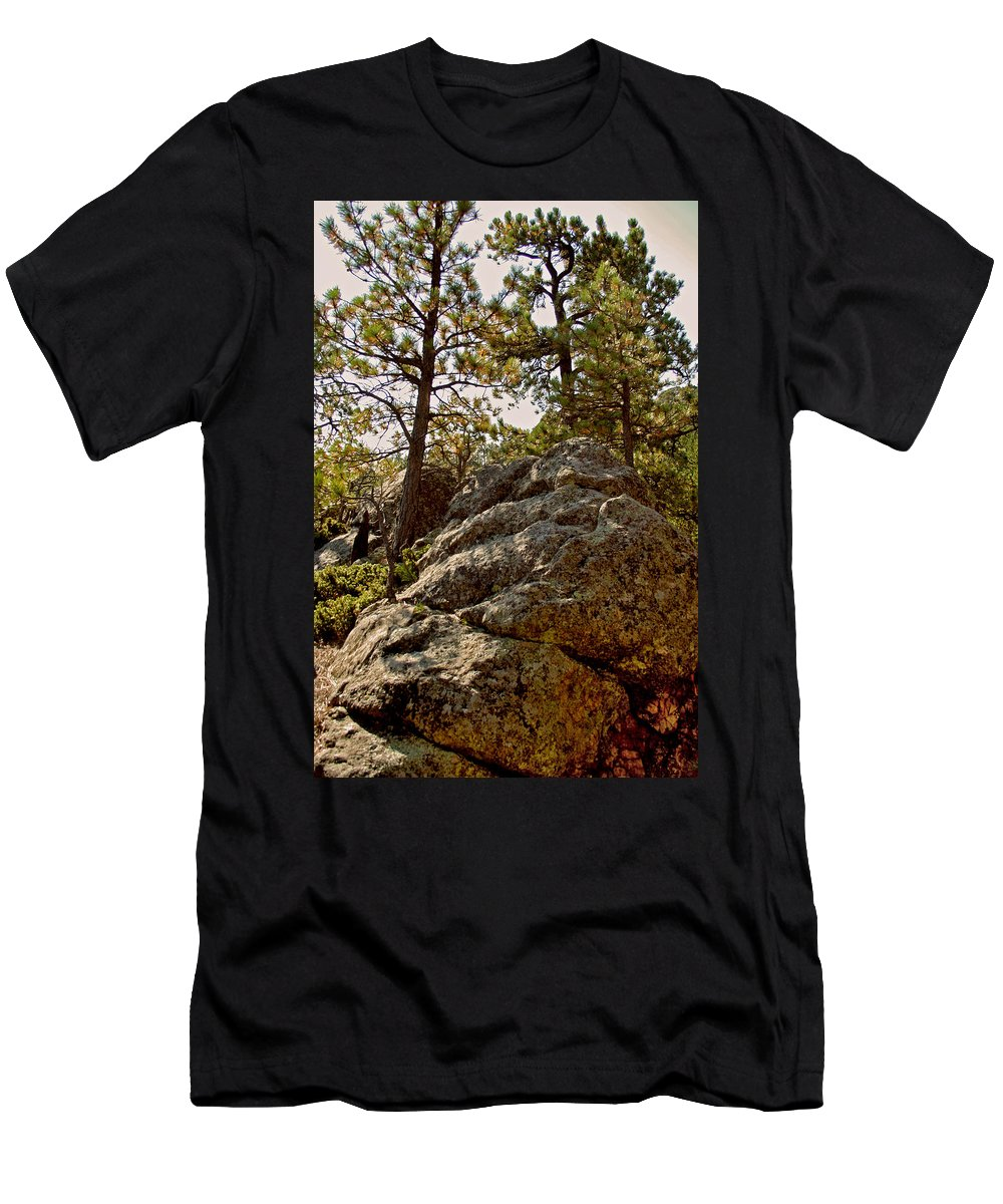 Mount Rushmore Men's T-Shirt (Athletic Fit) featuring the photograph Black Hills Boulders by Mike Oistad
