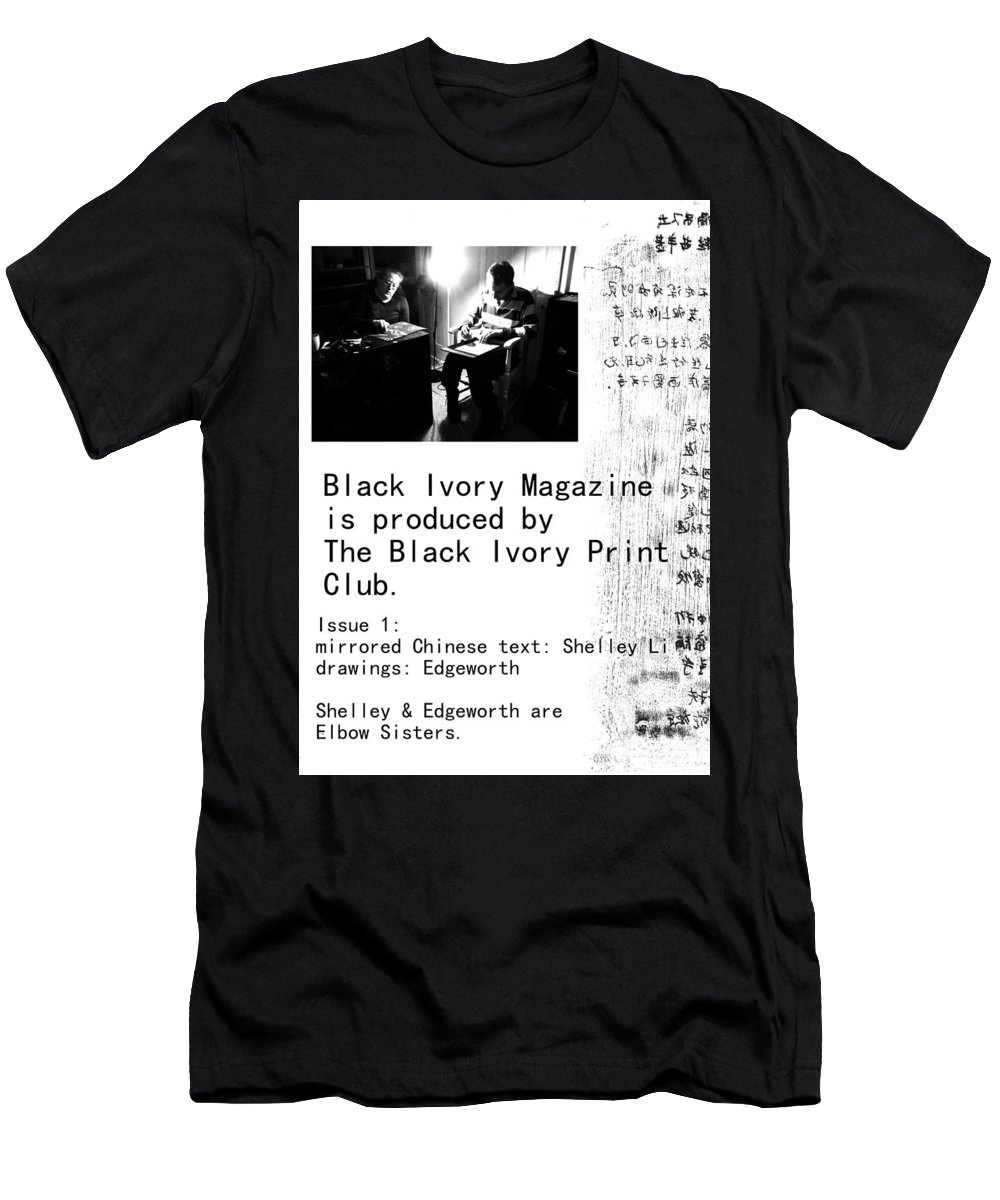 Black Men's T-Shirt (Athletic Fit) featuring the mixed media Black Ivory Issue 1 Page 2 by Artist Dot