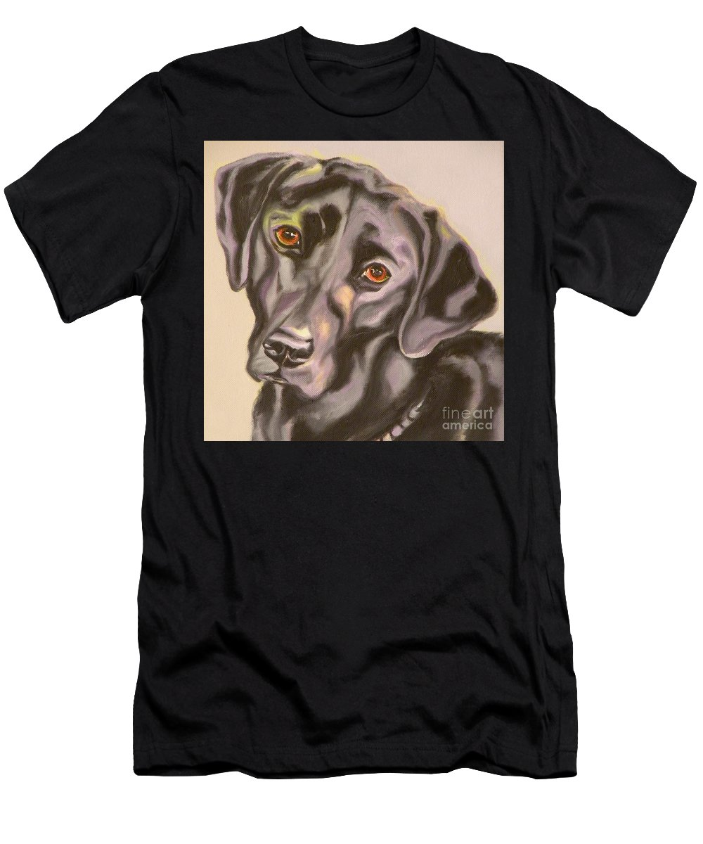Giclee Men's T-Shirt (Athletic Fit) featuring the painting Black Lab Aint No Cure For Love by Susan A Becker