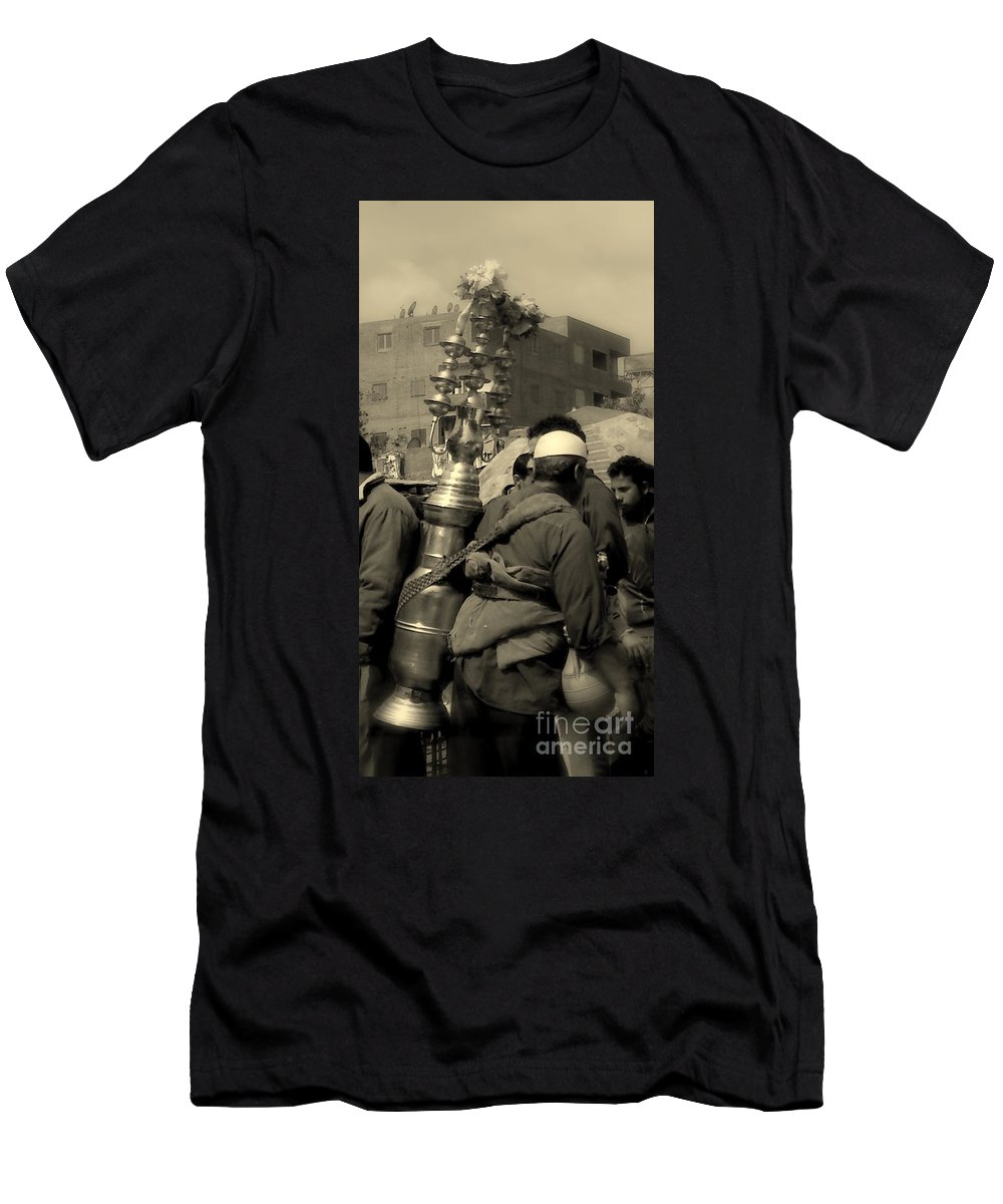 Street Juice Man Black Licorice Egypt Old Scene Men's T-Shirt (Athletic Fit) featuring the photograph Black Licorice by Mina Milad