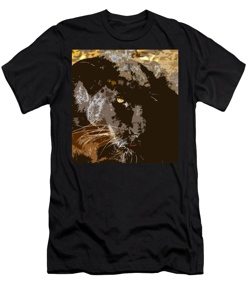 Black Panther Men's T-Shirt (Athletic Fit) featuring the painting Black Panther by David Lee Thompson