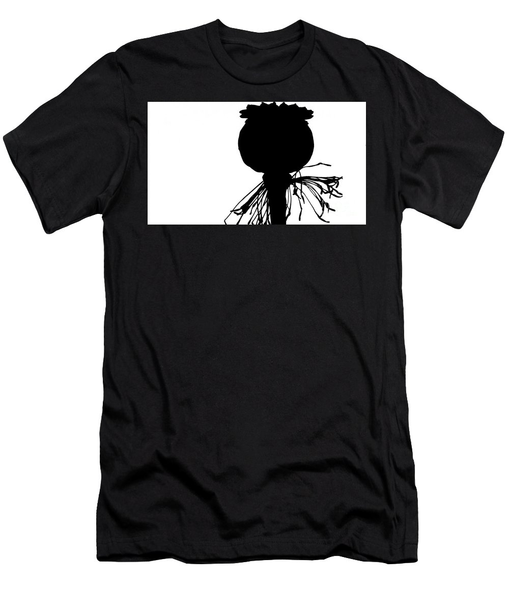 Black And White Men's T-Shirt (Athletic Fit) featuring the photograph Black Poppy, White Sky by Jordan W