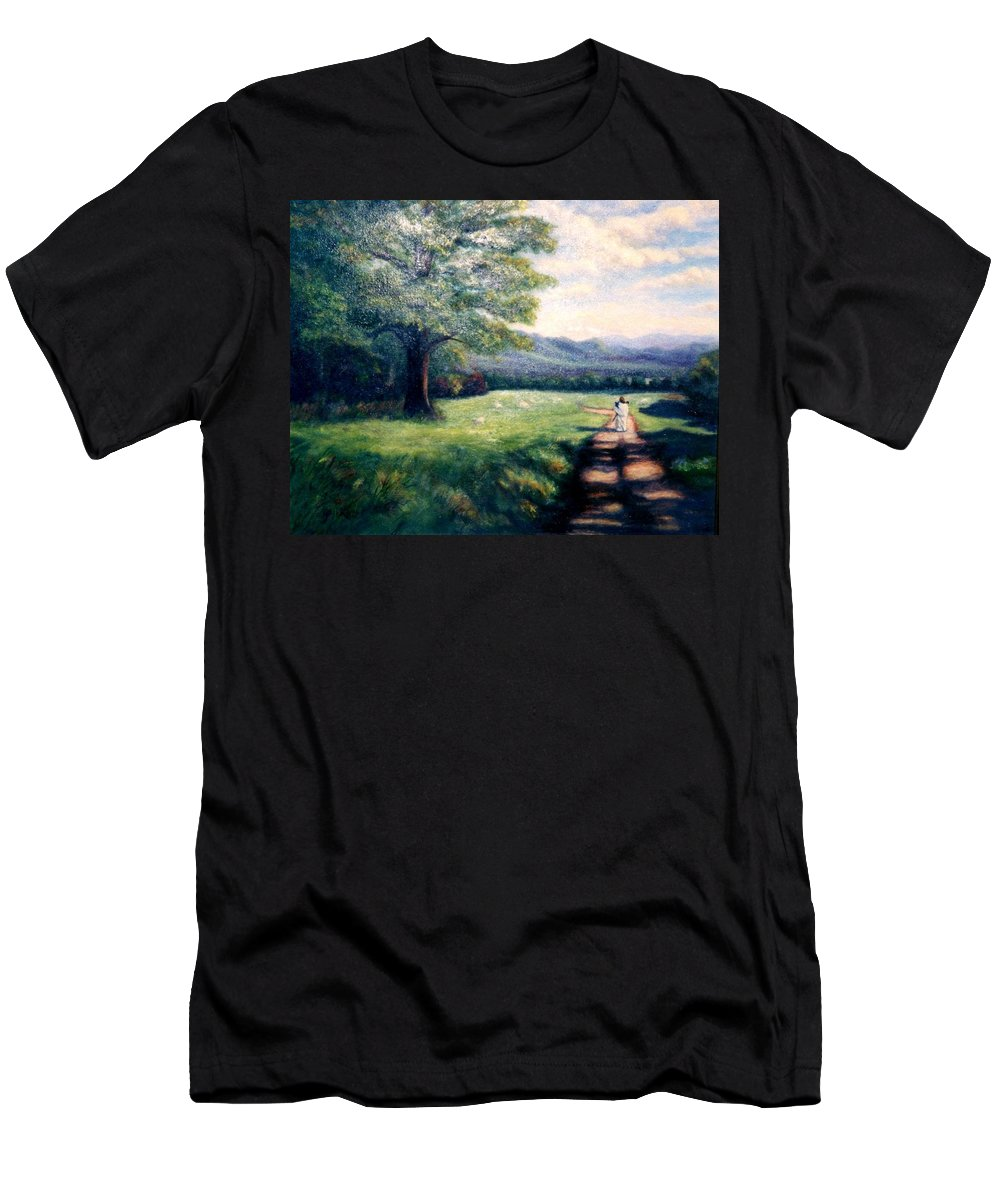 Christian Men's T-Shirt (Athletic Fit) featuring the painting Black Sheep by Gail Kirtz