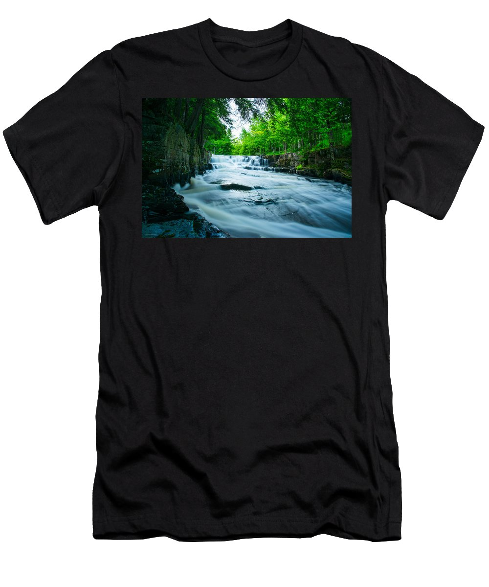Black Slate Falls Men's T-Shirt (Athletic Fit) featuring the photograph Black Slate Falls by Michael Tucker