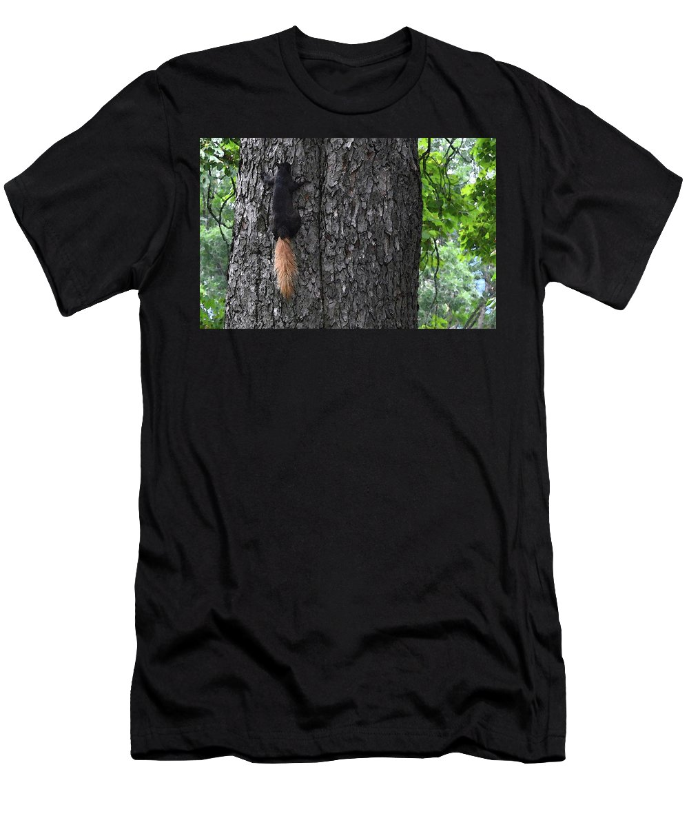 Abstract Men's T-Shirt (Athletic Fit) featuring the digital art Black Squirrel With Blond Tail Two by Lyle Crump