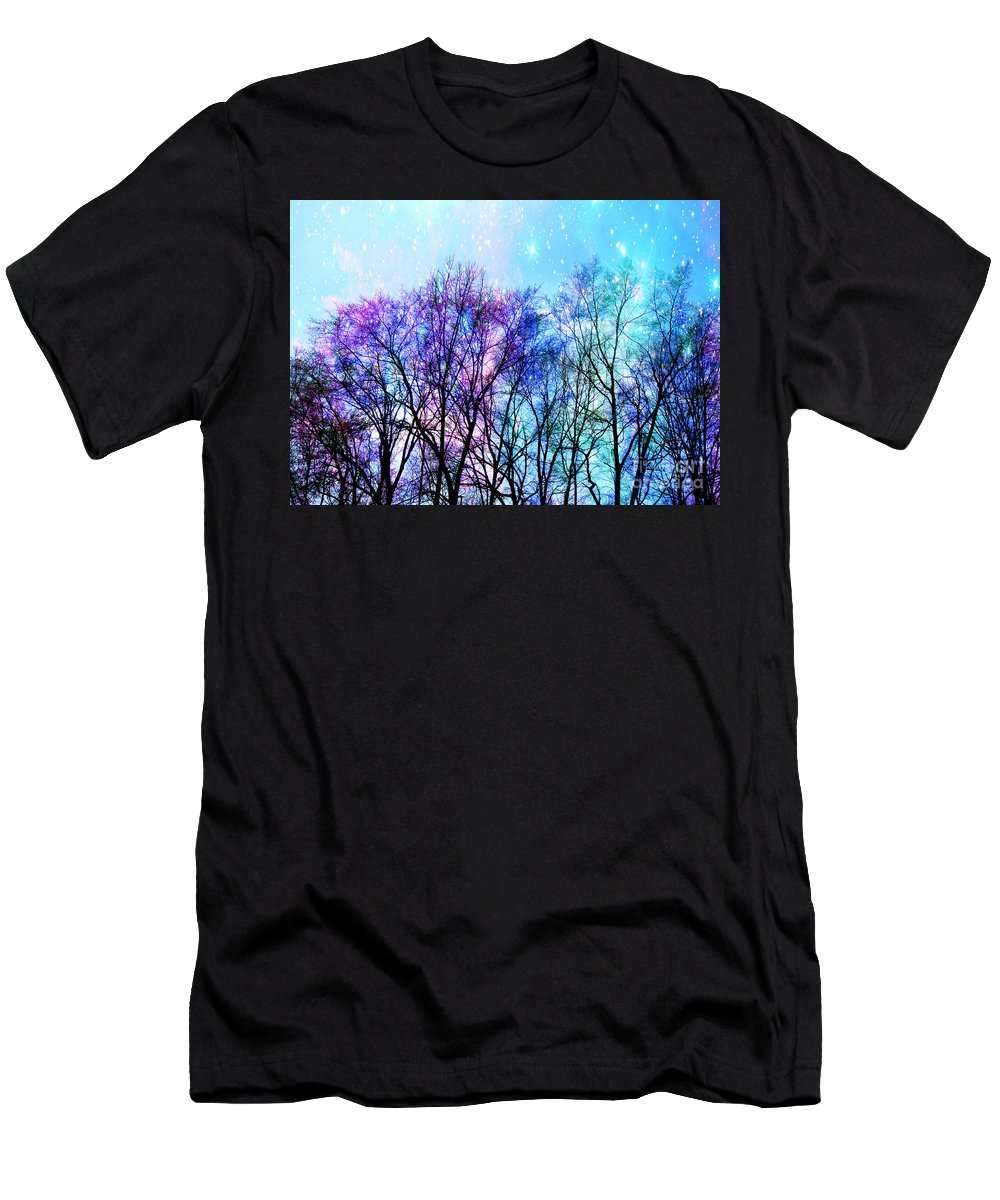 Black Trees Men's T-Shirt (Athletic Fit) featuring the digital art Black Trees Bright Pastel Space by Johari Smith