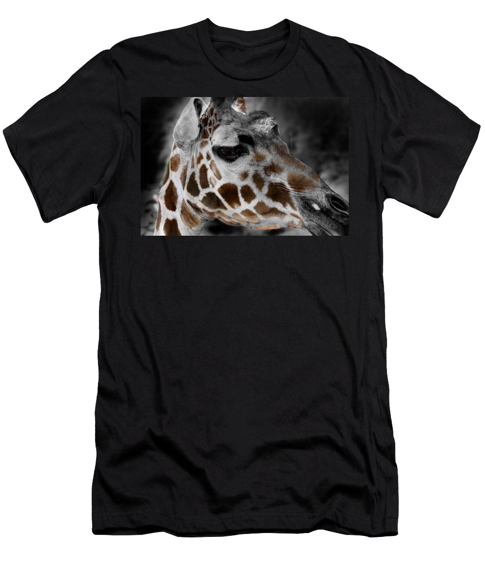 Giraffe Men's T-Shirt (Athletic Fit) featuring the photograph Black White And Color Giraffe by Anthony Jones