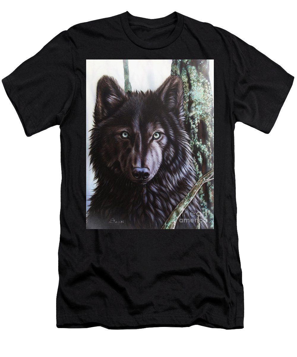 Wolves Men's T-Shirt (Athletic Fit) featuring the painting Black Wolf by Sandi Baker