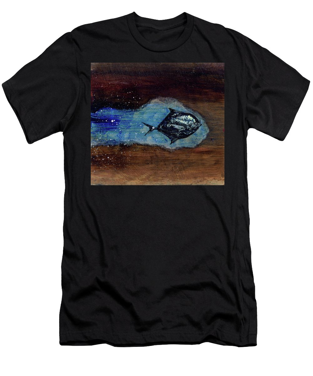 Men's T-Shirt (Athletic Fit) featuring the mixed media Blackfish by Sam Arneson
