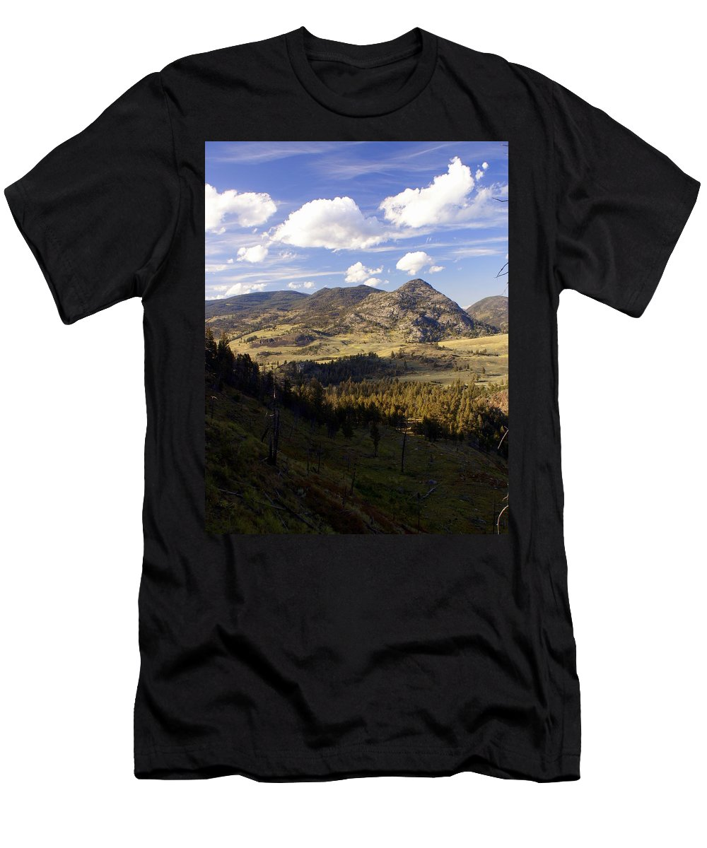 Yellowstone National Park Men's T-Shirt (Athletic Fit) featuring the photograph Blacktail Road Landscape by Marty Koch