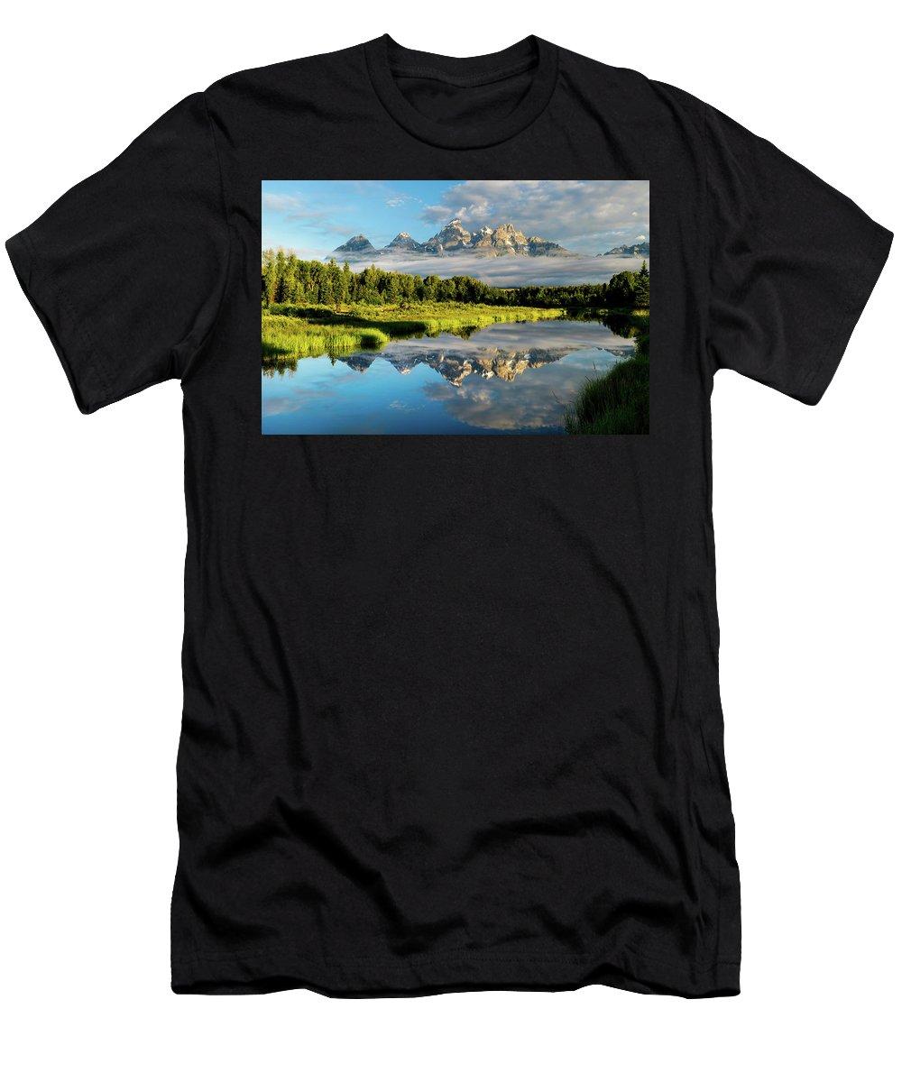 Grand Teton Men's T-Shirt (Athletic Fit) featuring the photograph Blame It On The Tetons by Matt Shiffler