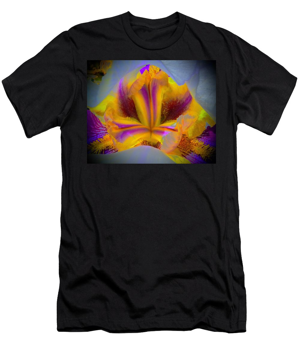 Iris Men's T-Shirt (Athletic Fit) featuring the photograph Blazing Heart Of An Iris by Tim G Ross