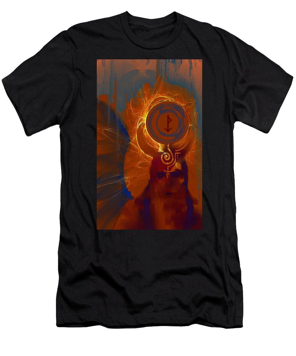 Spiritual Men's T-Shirt (Athletic Fit) featuring the digital art Blazzing Wisdom Through Odins Essence by Stephen Lucas
