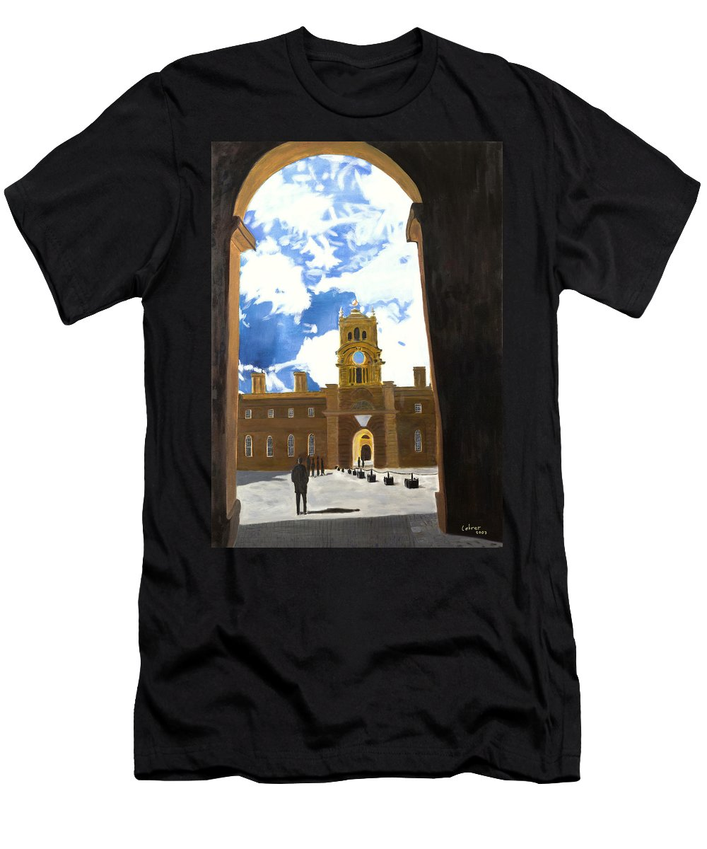 Churchill Men's T-Shirt (Athletic Fit) featuring the painting Blenheim Palace England by Avi Lehrer