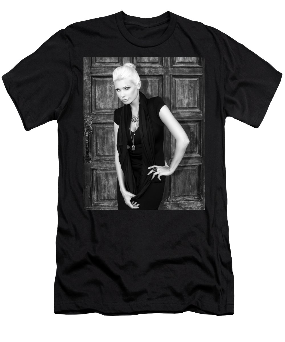 Blonde Men's T-Shirt (Athletic Fit) featuring the photograph Blonde Attitude Bw Palm Springs by William Dey