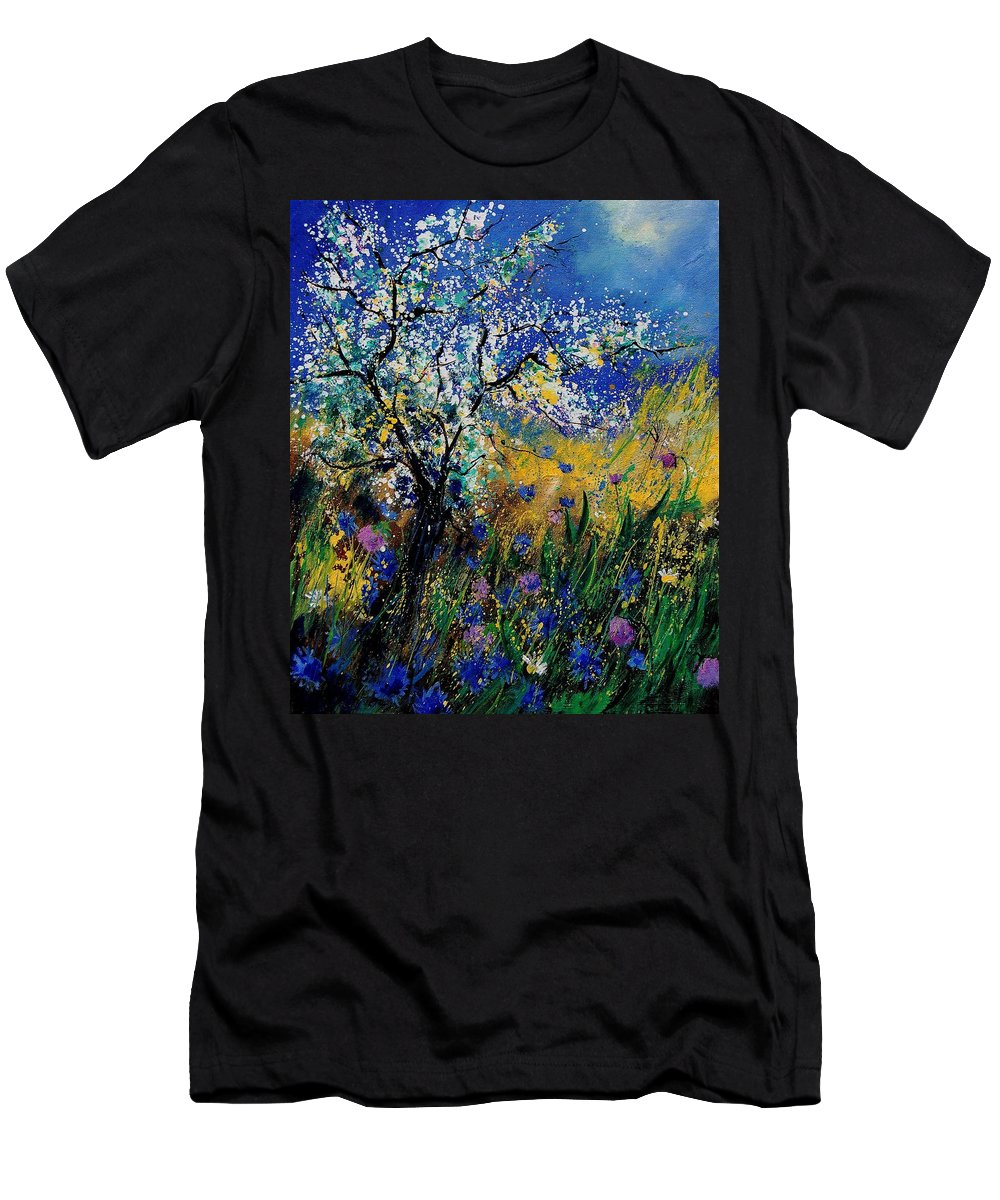 Spring Men's T-Shirt (Athletic Fit) featuring the painting Blooming Appletree by Pol Ledent