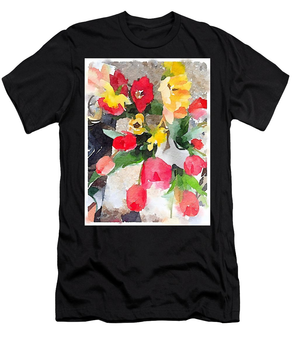 Tulips Men's T-Shirt (Athletic Fit) featuring the digital art Blooming Fools by Sharon Wunder