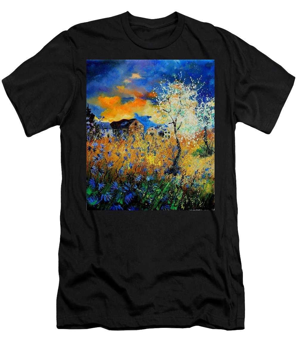 Poppies Men's T-Shirt (Athletic Fit) featuring the painting Blooming Trees by Pol Ledent