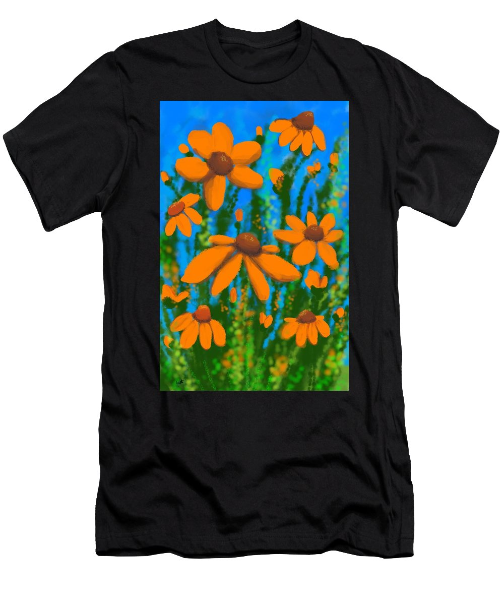 Flowers Men's T-Shirt (Athletic Fit) featuring the digital art Blooms Of Orange by Kathleen Hromada