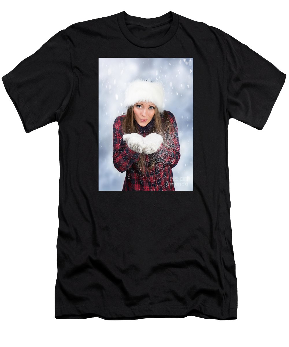 Young Men's T-Shirt (Athletic Fit) featuring the photograph Blowing Snow In Winter by Amanda Elwell
