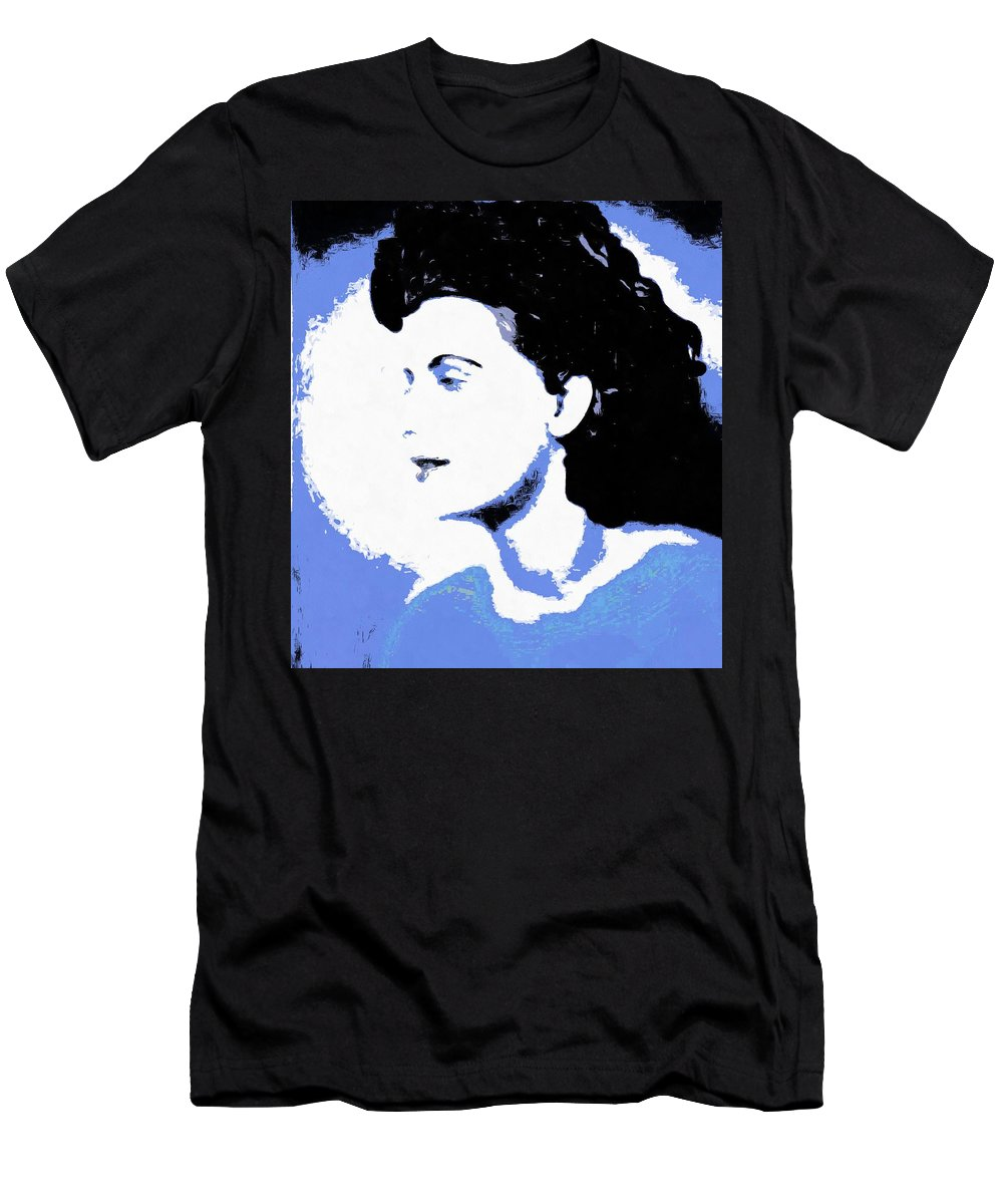 Abstract Men's T-Shirt (Athletic Fit) featuring the digital art Blue - Abstract Woman by Caterina Christakos