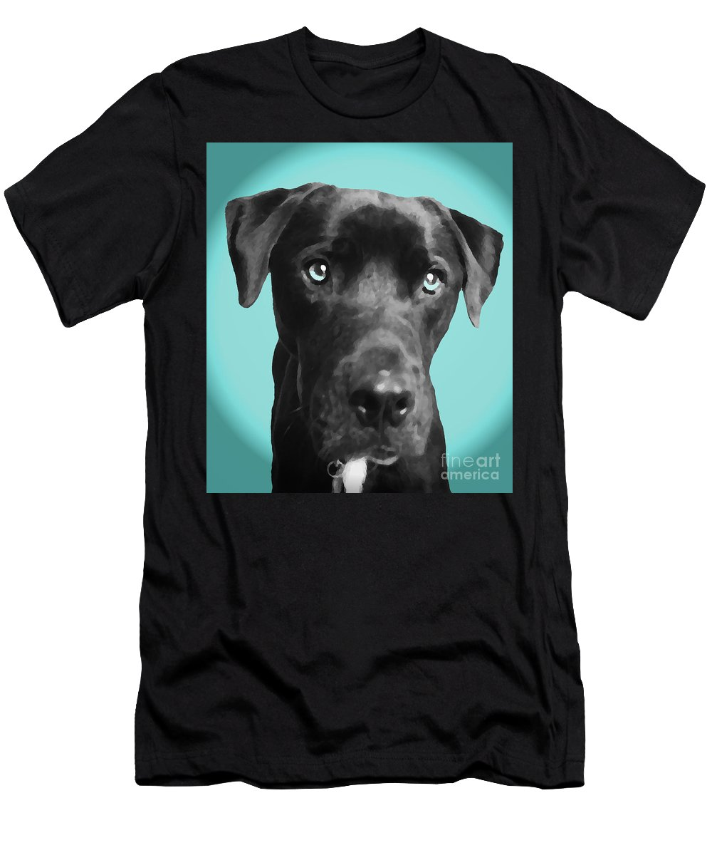 dog Art Men's T-Shirt (Athletic Fit) featuring the photograph Blue by Amanda Barcon