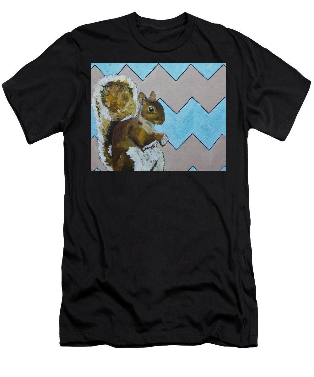 Art & Collectibles Painting Acrylic Squirrel Art Animal Art Wildlife Art Orange Home Decor Purple Home Decor Brown Home Decor Modern Chevron Bright Artwork Silly Art Funny Art Whimsical Design Humorous Art Nursery Art Men's T-Shirt (Athletic Fit) featuring the painting Blue And Beige Chevron Squirrel by Mike Kraus
