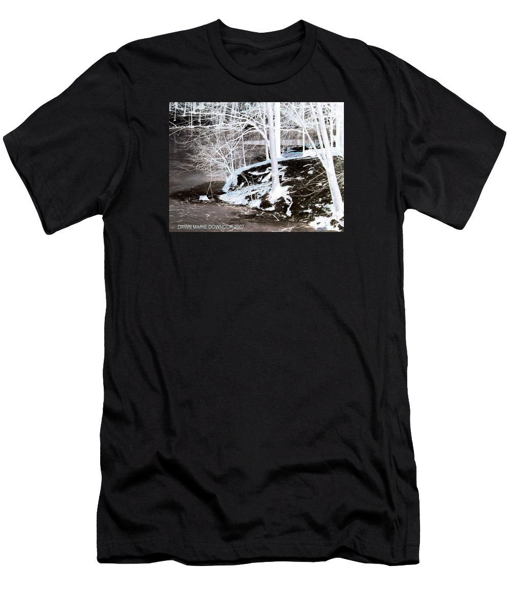 Landscape Men's T-Shirt (Athletic Fit) featuring the photograph Blue And Brown Trees by Dawn Downour