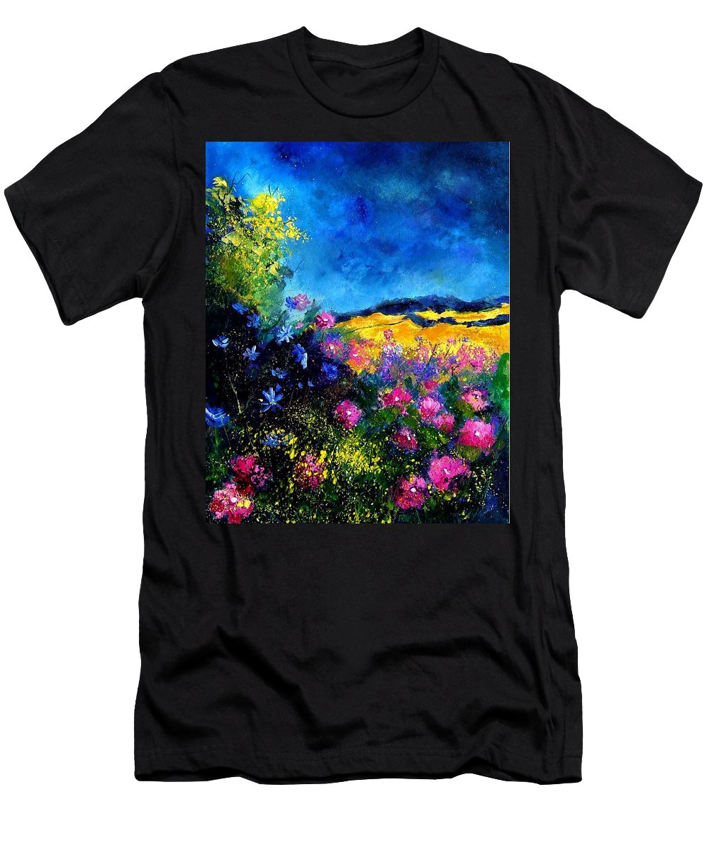 Landscape Men's T-Shirt (Athletic Fit) featuring the painting Blue And Pink Flowers by Pol Ledent
