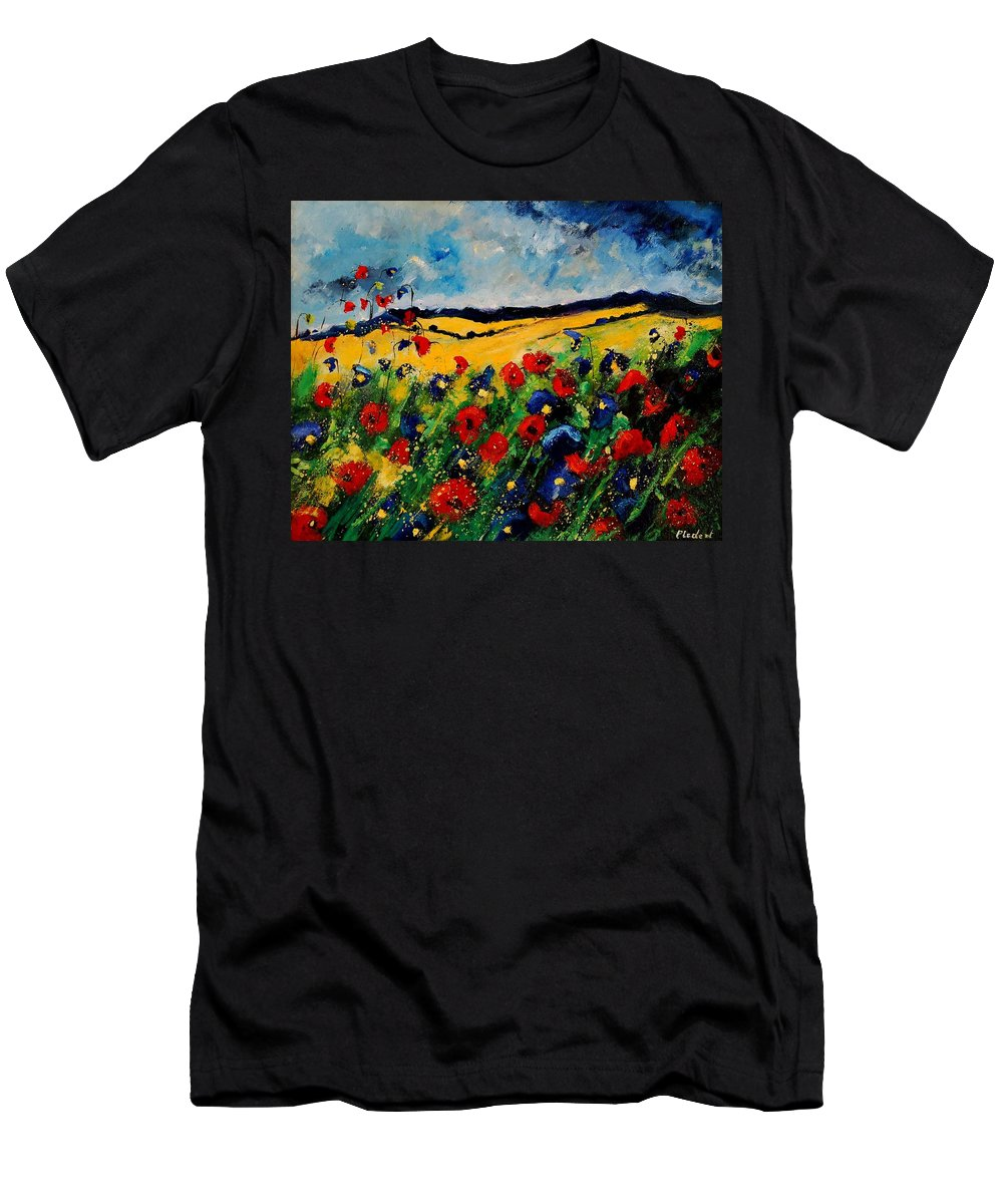 Poppies Men's T-Shirt (Athletic Fit) featuring the painting Blue And Red Poppies 45 by Pol Ledent