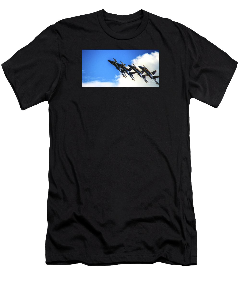 Blue Angels Men's T-Shirt (Athletic Fit) featuring the photograph Blue Angel Fly By by Patrick Dablow