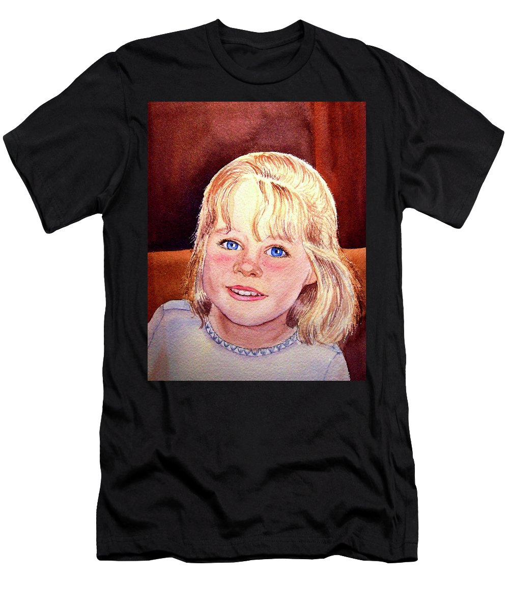 Girl Portrait Men's T-Shirt (Athletic Fit) featuring the painting Blue Blue Eyes by Irina Sztukowski