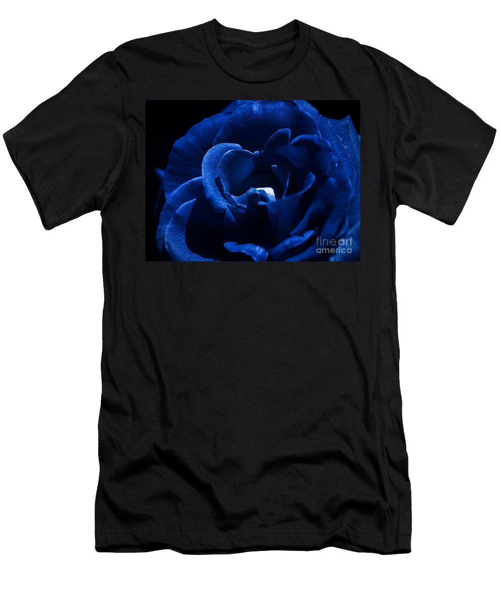 Clay Men's T-Shirt (Athletic Fit) featuring the photograph Blue Blue Rose by Clayton Bruster