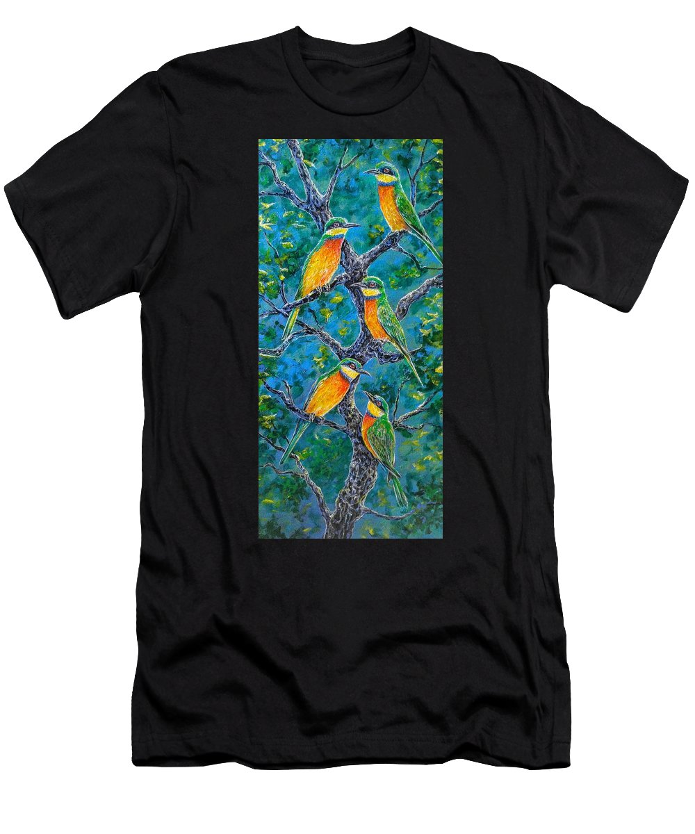 Bird Bee Blue Wings Rainbow Men's T-Shirt (Athletic Fit) featuring the painting Blue Breasted Bee Eater by Gail Butler