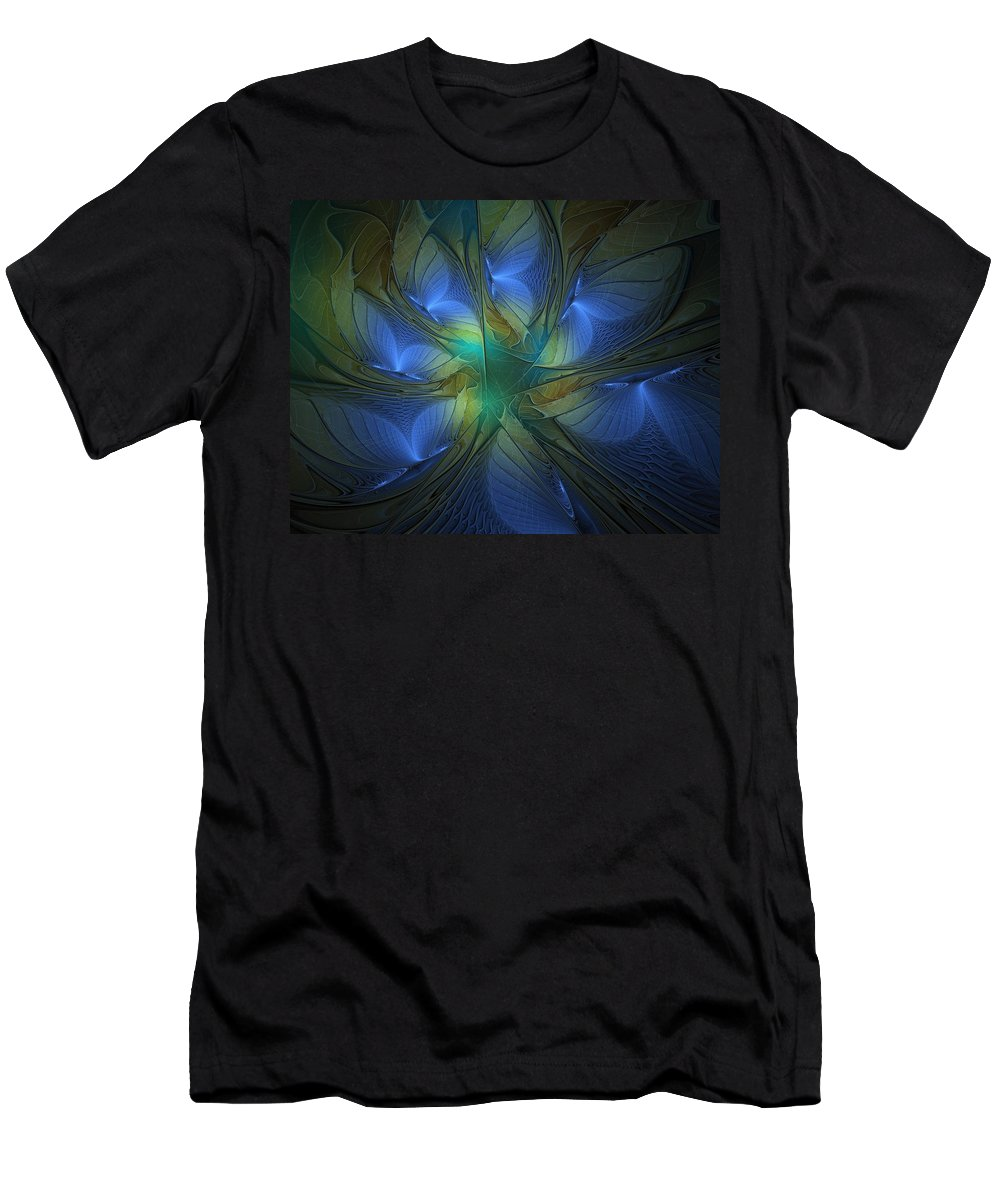 Digital Art Men's T-Shirt (Athletic Fit) featuring the digital art Blue Butterflies by Amanda Moore