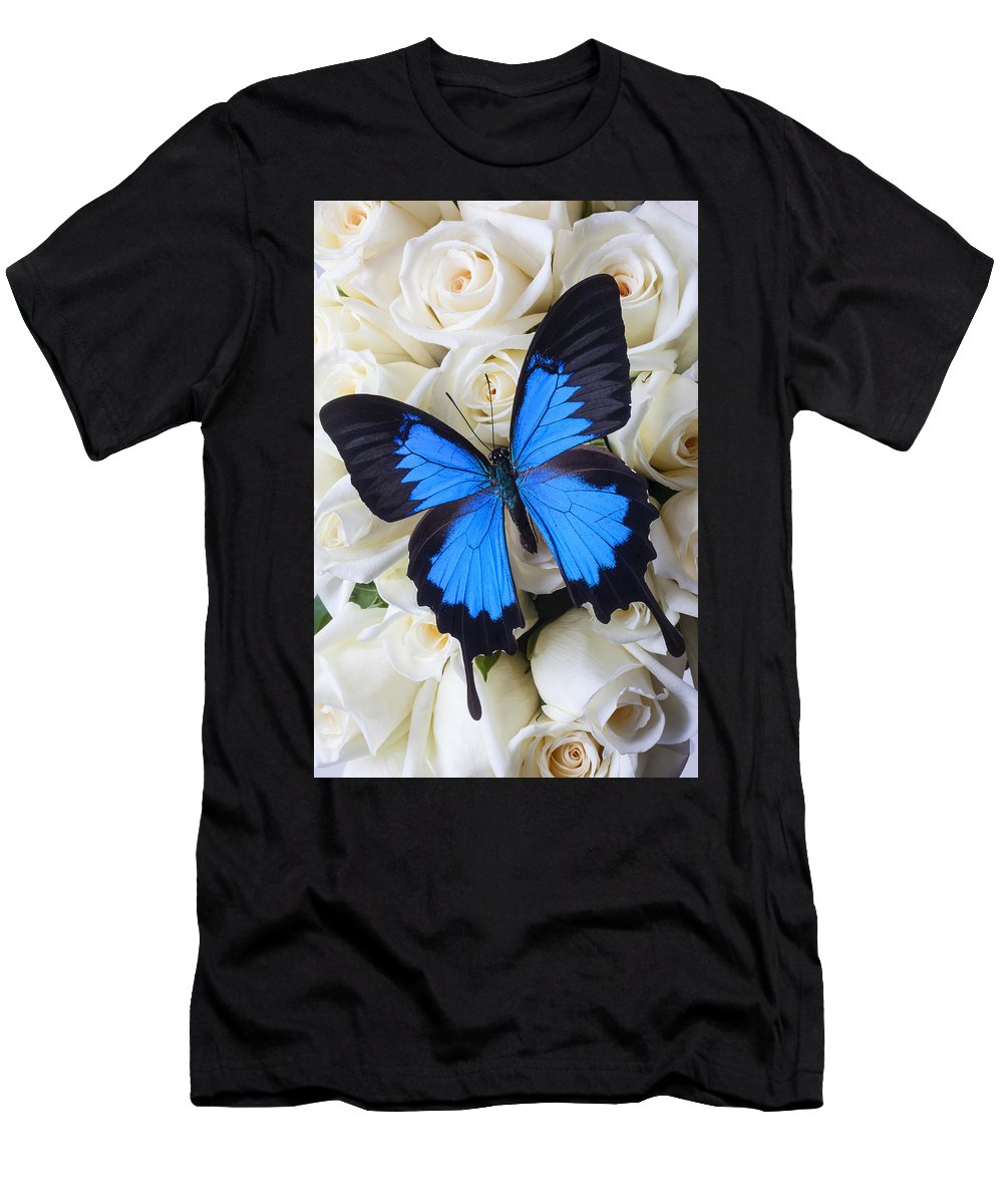 Blue Butterfly Men's T-Shirt (Athletic Fit) featuring the photograph Blue Butterfly On White Roses by Garry Gay
