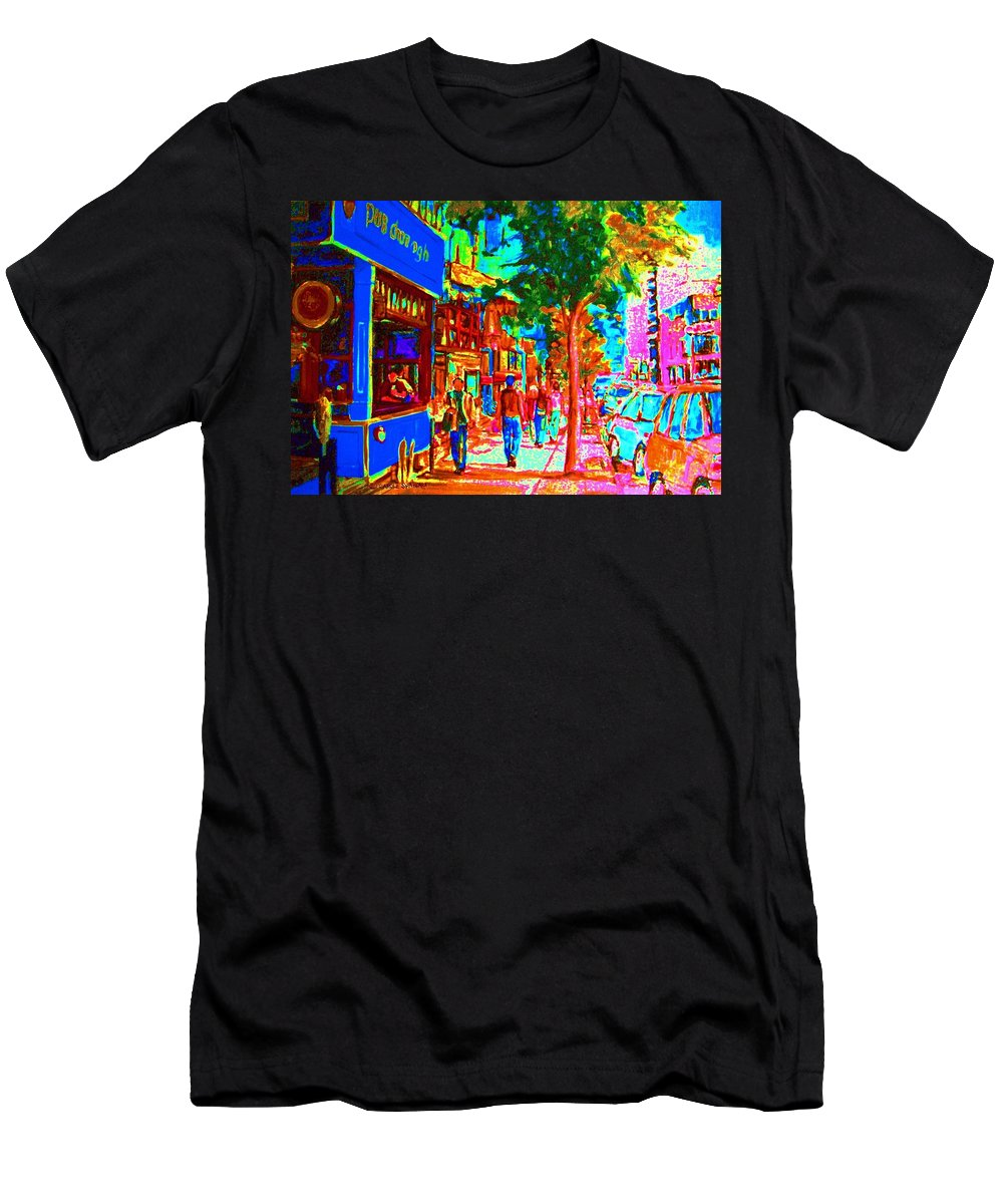 Cafes Men's T-Shirt (Athletic Fit) featuring the painting Blue Cafe In Springtime by Carole Spandau