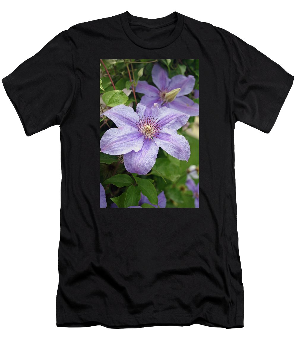 Clematis Men's T-Shirt (Athletic Fit) featuring the photograph Blue Clematis by Margie Wildblood