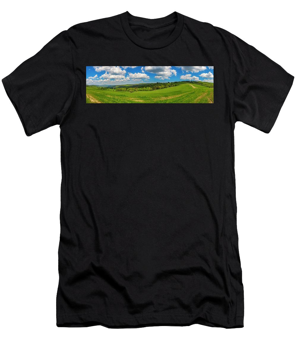 Cloudscape Men's T-Shirt (Athletic Fit) featuring the photograph Blue Cloudy Sky Over Green Hills And Country Road by Lukasz Szczepanski