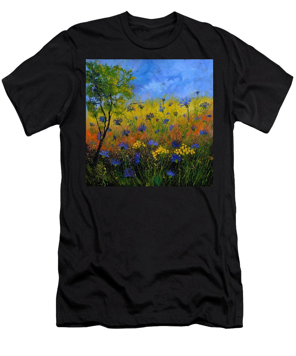 Flowers T-Shirt featuring the painting Blue cornflowers 7761 by Pol Ledent