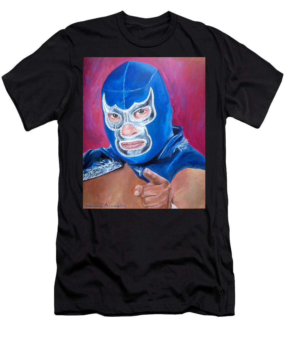 Mask Men's T-Shirt (Athletic Fit) featuring the painting Blue Demon by Nancy Almazan