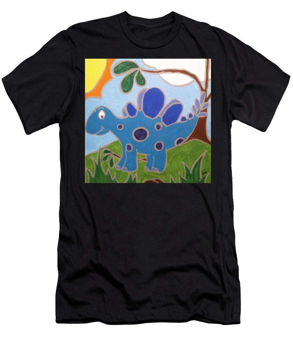 Dinosaur. Boys Room Men's T-Shirt (Athletic Fit) featuring the painting Blue Dino by Anne Robinson